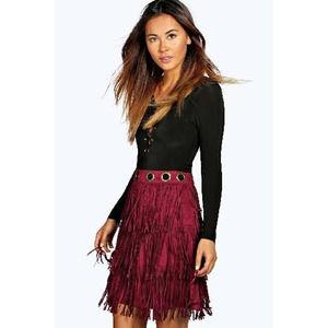 Boohoo Maroon Fringe Mini Skirt